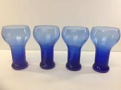 Vintage Blenko Glass Swirl Line Cobalt Blue 12OZ Tumblers Glassware, 4PC Set