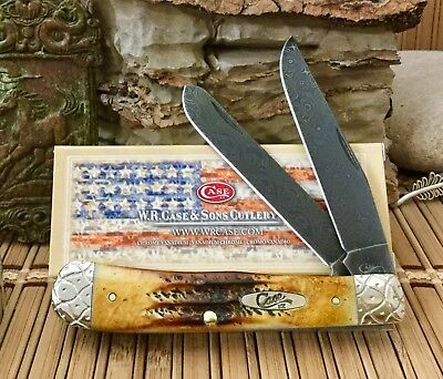 Case XX Custom Nice 6.5 BONE STAG Raindrop Damascus Engraved Trapper Knife ###2