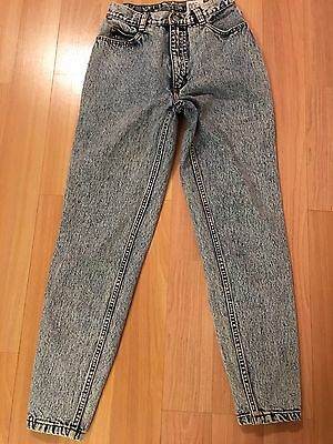Vintage Jordache Acid Wash Jeans Back Buttons Taper Size 24 9/10