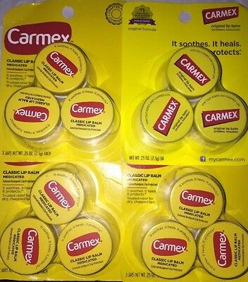 Lot of (4) 3 Count of Carmex Classic Lip Balm Medicated Total 12