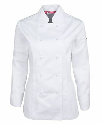 JB's Wear Ladies Mandarin Collar Vented Chef's Jacket with pen pockets on sleeve