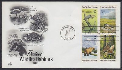 USA FDC 1493 - 1496 4er Block Wildlife, gest. Reno 1981, first day cover
