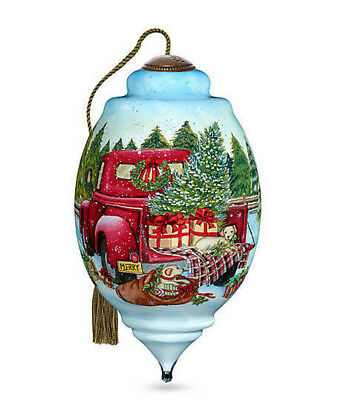 NeQwa PAINTED Glass RED FARM TRUCK PUPPIES Susan Winget Christmas Ornament NEW