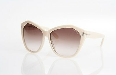 Tom Ford Angelina Tf317 25G Brown Ivory Oversized Cat Eye Style Sunglasses New