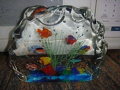 Large Vintage Murano Cenedese Art Glass Fish Aquarium Sculpture