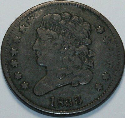 1833 Half Cent damaged [SN01]
