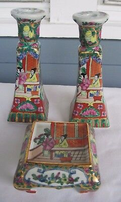 Pair of Chinese Porcelain Candle Stick Holders w/ Matching Decorative Table