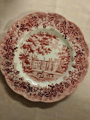 """J&G Meakin Romantic England Red Salad/Dessert/Bread Plate 6 7/8"""" Perfect Cond."""