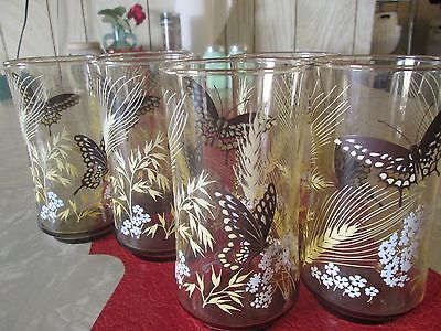 Vintage Smoky Butterfly M. Petti Signed Lot of 6 Drinking Glasses 10 Ounce