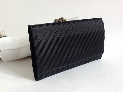 Vintage 1960s Large Black Fabric Coin Purse Wallet With Black Fabric Lining