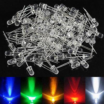50PCS 5mm Red Yellow White Colorful LED Light Emitting Diodes DC 2.5V-3V Newly