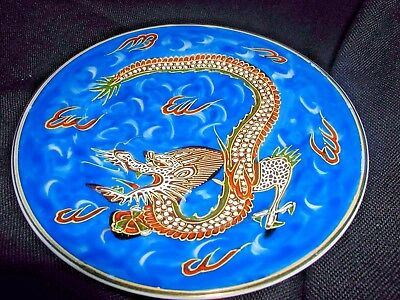 Antique Hand Painted Japan Nippon Plate with Ornate Long Tail Dragon 1920