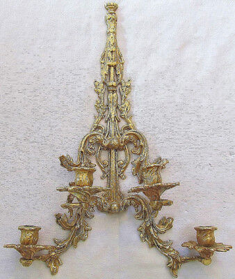 Antique Large Solid Heavy Brass 4 Candle Ornate Wall Sconce 21 Inches