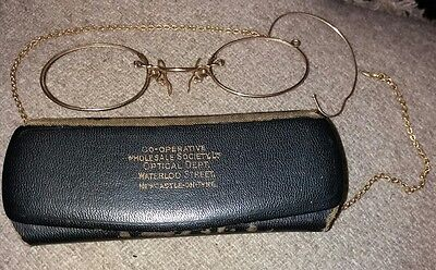 Vintage Pince Nez Spectacles Frames (No Lens) with  Case Tested Gold