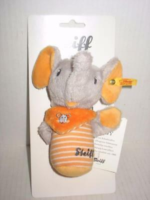 Steiff Original Elephant Baby Rattle Toy Grey Orange New on Original Package
