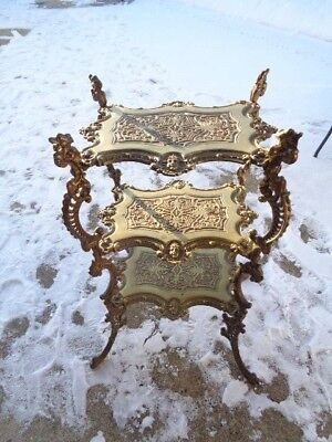 Vtg Large Brass Ornate 3 Tier Side End Table Carved Mid Century Victorian Rare