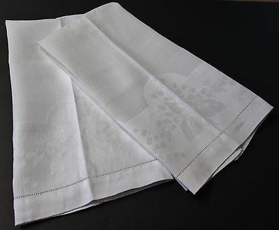 Antique Pair Nubby Linen Towels LILY OF THE VALLEY FLORALS Hemstitched