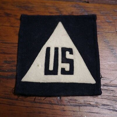 """Vintage WWII """"US"""" Non-Combatant Civilian Navy Blue White Wool Small Patch 4""""x4"""""""