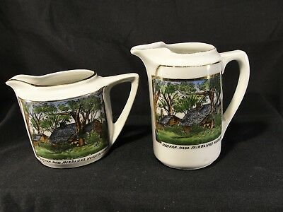 Pair of Antique Porcelain Fairbanks House Dedham MA Pitchers Germany Gold 1636