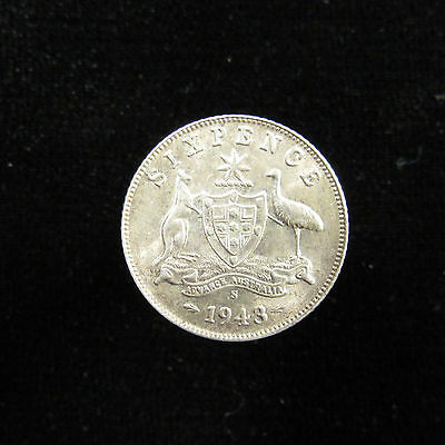 Australia Silver Sixpence 1943-S, luster