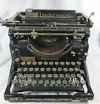 Vintage Antique 1929 to 1930 UNDERWOOD No.5 Black Steel Standard Typewriter RARE