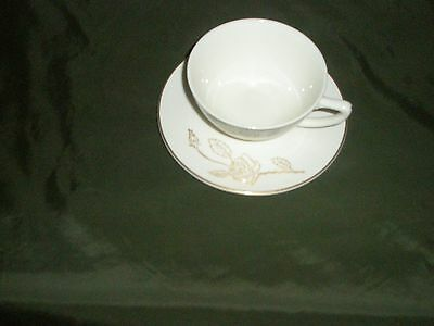 Rare HTF  Briar Rose 24k Gold Trim Cup and Saucer by Knowles