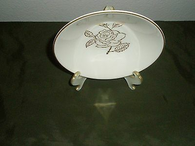 """Rare HTF  Briar Rose 24k Gold Trim Small Bowl 5 1/2"""" across  by Knowles"""