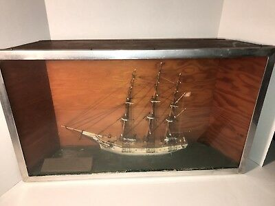 Antique Vintage Hand Crafted Three Mast Sailing Ship Model and Diorama Half Hull