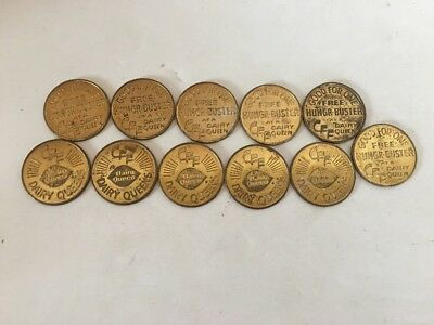 Vintage Dairy Queen Collectible Coins Lot of 11 FREE Hungr-Buster Gold Tokens