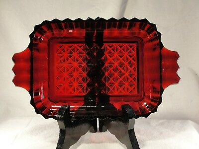 "Antique New Martinsville? Ruby Red Glass Tray Diamond Pattern 7 3/8""W Mint"