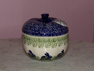 Genuine Hand Made Polish Pottery Lidded Apple Baker! Bunny Pattern!