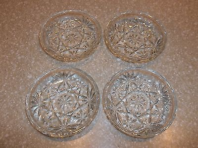"4 Vintage Anchor Hocking EAPG Oatmeal Glass COASTERS 3.5"" Smooth Edge   Perfect"