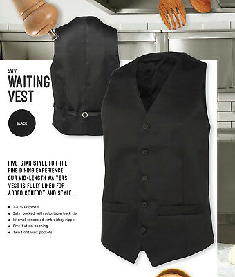 JB's Mid-Length Waiter's Waiting Vest with fully lined & Satin backed + back tie