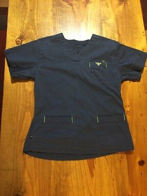 Women's Navy Blue And Apple Med Couture Scrub Top Good Condition Size Small