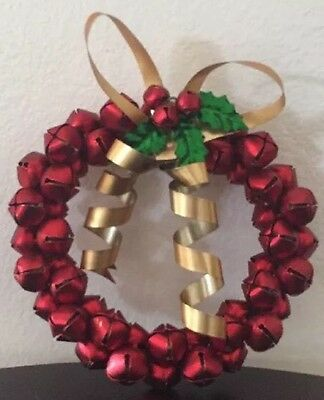 Red Painted Metal Bells Gold Bow Green Holly Leaves Berry Round Christmas Wreath