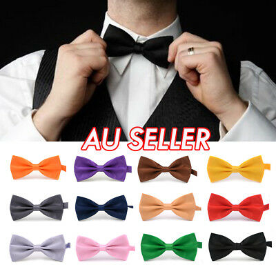 Mens Silk Satin plain Solid Bow Tie Formal Wedding Party Pre Tied Bowtie Necktie
