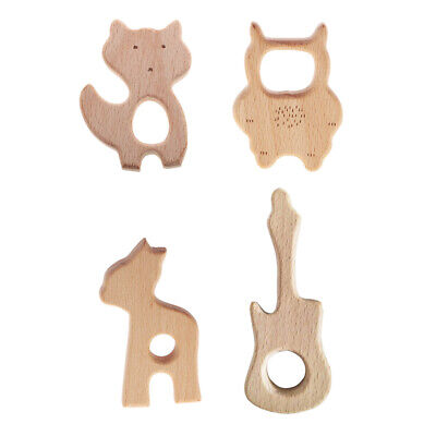 4pcs Baby Wooden Teether Teething Toys Development and Sensory Skills Toy