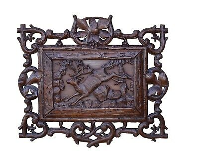 French Antique Black Forest Hunt Themed Stag Wood Wall Carving Panel Sculpture