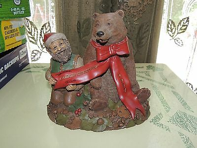 Tom Clark Gnome Tim Wolfe 1994 6335 Santa Bear  Signed By Both Artists