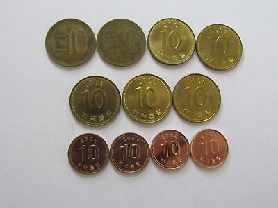 Lot of 11 Different South Korea Coins - 1972 to 2009 - Circulated & Uncirculated