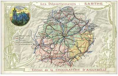 72.sarthe.n°9575.edition De La Chocolaterie D'aiguebelle.carte Du Departement