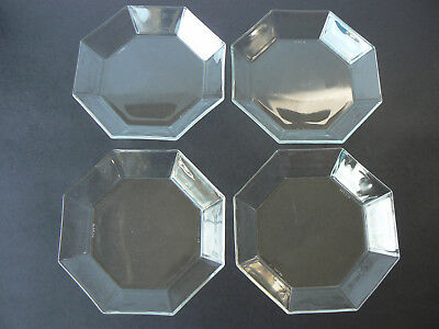 Set of 4 Vintage Arcoroc OCTIME Clear Glass Coupe Salad Bowls France Excellent