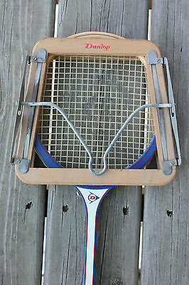 Vintage Dunlop Ultra Wooden Squash Racket with Wooden Dunlop Press