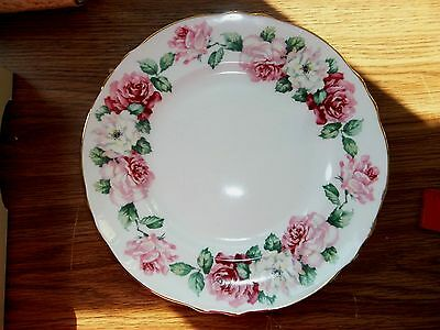 "Vintage Crown Staffordshire Irish Rose Cake Plate 8 1/4"" New In Box"