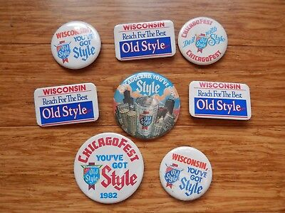 Vintage 1980's WISCONSIN Heileman's Old Style Beer Pinback Buttons