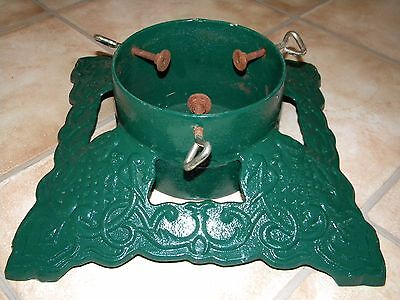 Vtg Antique Cast Iron  Heirloom Christmas Tree Stand Green Metal Heavy Ornate
