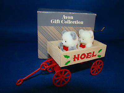 Avon Teddy Bear Collection Christmas Ornament Teddies In Wagon NIB @26