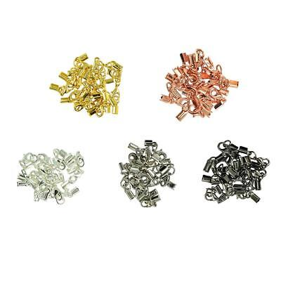 60 Sets Lobster Clasp End Caps Leather Cord Crimp Bead Jewelry Findings