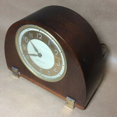 Vintage Wood Seth Thomas Mantle Clock, Classic Art Deco, Electric, Works Great