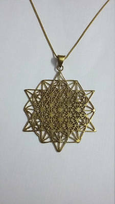 Handmade Solid Brass TETRAHEDRON STAR Shape Flower of Life Pendant with Chain .
